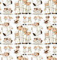 Seamless muslim family in white costume vector image