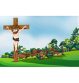 A cross at the forest vector image