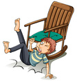 A man who fell off from the chair vector image