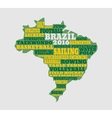Brazil map with text various sport competition vector image