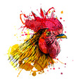 Colored hand sketch rooster head vector image