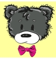 Cute cartoon teddy bear with a bow vector image