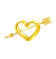 golden heart pierced by cupids arrow vector image