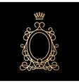 Golden vintage oval frame with crown vector image