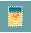Starfish flat stamp summertime vector image