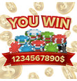 you win jackpot background falling vector image