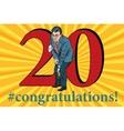 Congratulations 20 anniversary event celebration vector image