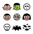 Halloween characters - Dracula monster mummy ico vector image