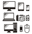 Digital devices in black colour icons set vector image vector image