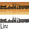 Linz skyline in orange vector image