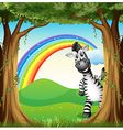 A zebra near the trees and a rainbow in the sky vector image