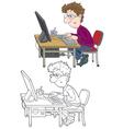 Computer user vector image
