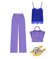 lilac trousers and handbag blue shirt color card vector image