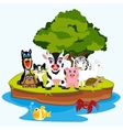 Much animals on island vector image
