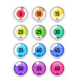 set of colorful timers vector image