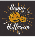 Vintage black Halloween background with pumpkins vector image