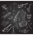 Rock and pop music hand drawn instruments guitar vector image vector image
