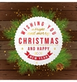Christmas card on wooden background vector image