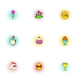Easter icons set pop-art style vector image vector image