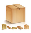 realistic cardboard boxes set isolated vector image