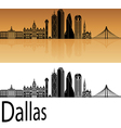 Dallas skyline in orange vector image vector image