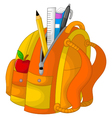 cute stationary on the bag with apple vector image vector image