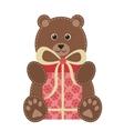 cartoon teddy bear with gift vector image