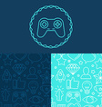 game badge and seamless patterns vector image
