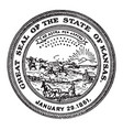 The great seal of the state of kansas 1861 vintage vector image