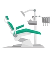Dental chair with instruments and tools vector image vector image