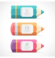Set of colorful pencil banners vector