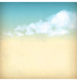 Vintage sky clouds old paper textured background vector image