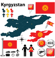 Map of Kyrgyzstan vector image vector image