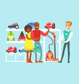 happy family couple choosing a vacuum cleaner with vector image