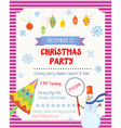 Christmas party funny poster with decorations and vector image
