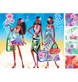women in summer dresses vector image vector image