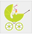 rabbit in baby carriage vector image