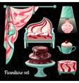 Themed interior design in caramel decor 6 items vector image