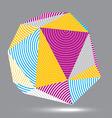 digital 3d striped abstraction geometric polygonal vector image