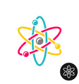 Atom logo Colorful physics science concept symbol vector image