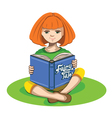 Little girl and a book of fairy tales vector image