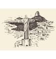 Rio de Janeiro City Brazil Engraved vector image