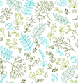 seamless pattern with floral elements on a white b vector image