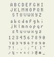square pixel font videogame alphabet in retro vector image