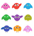 Set of cute birds with different emotions vector image