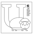 Urchin letter U coloring page vector image