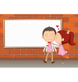 Lovers in front of an empty wooden board vector image