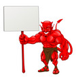 devil standing holding sign vector image