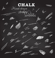 Set of hand-drawn chalk strokes and scribbles vector image