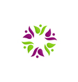 beauty people circle flower color logo vector image vector image